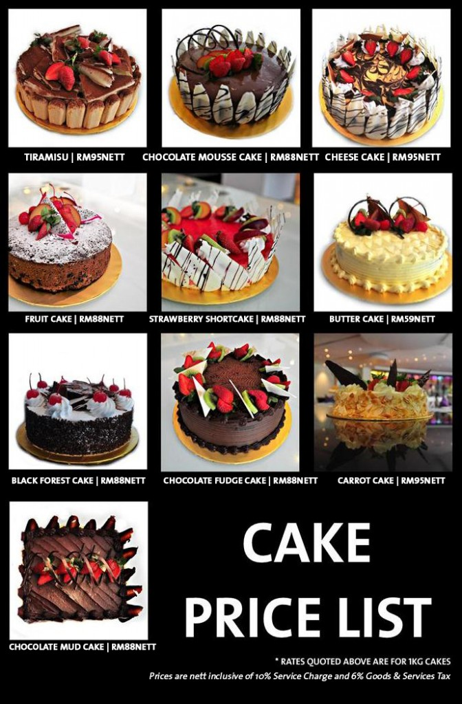Cakes Price list 2015